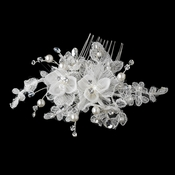 Swarovski Crystal Bead & Diamond White Pearl Fabric Flower Hair Comb 9726