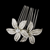 Antique Silver Clear Rhinestone Flower Comb 9985