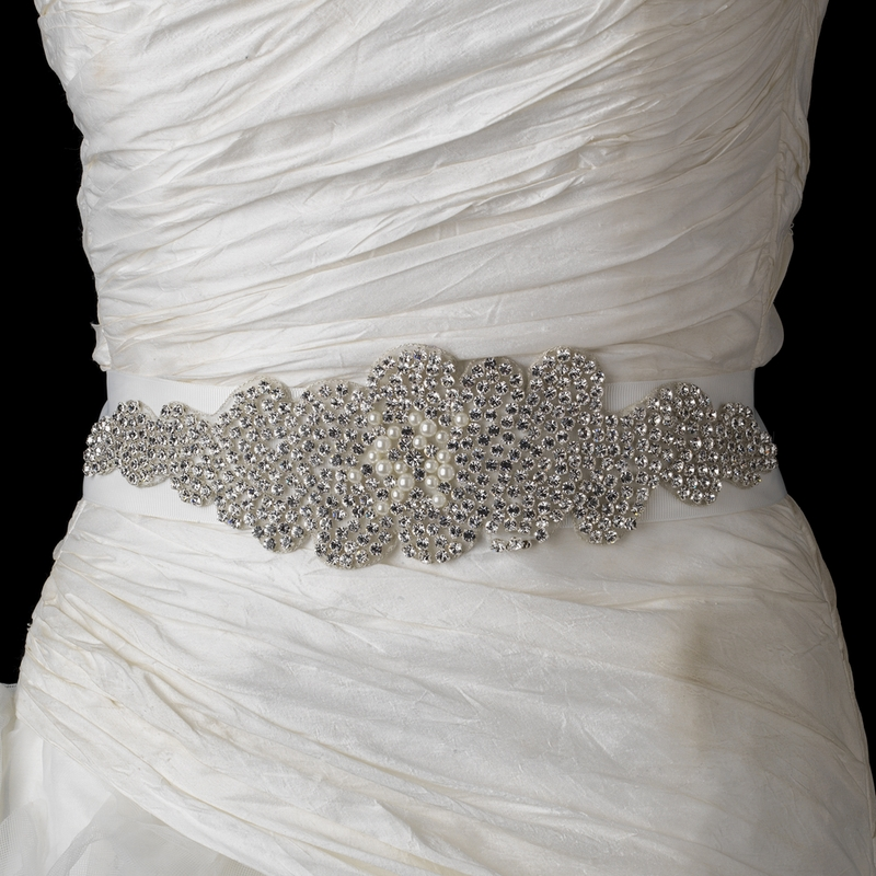 Rhinestone & Pearl Wedding Bridal Sash Belt|Rhinestone Pearl Wedding ...