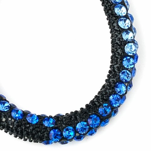 * Four Tone Blue Mix on Black Hoop Earring Set 8542