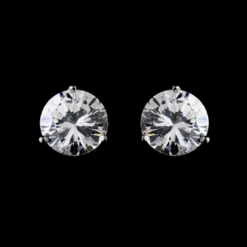 Rhodium Silver Clear Cubic Zirconia Round Stud Earring 2432