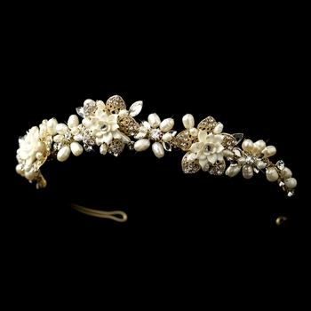 Gold Freshwater Pearl & Rhinestone Ivory Porcelain Floral Tiara Headpiece 9613***Discontinued****