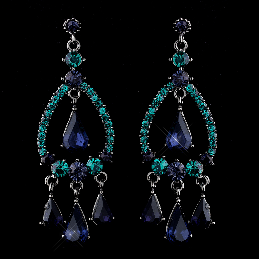 Blue teal chandelier rhinestone earringssilver rhinestone silver blue teal crystal rhinestone teardrop chandelier earrings 8686 mozeypictures Image collections