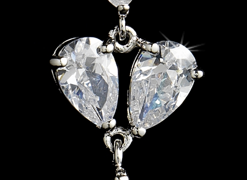 Rhodium Silver Clear CZ Teardrop Angel Earring 1571
