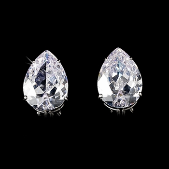Stunning Large Teardrop French Clip Pierced Cubic Zirconium Earrings E 5335***Discontinued***