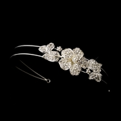 * Rhinestone Floral Side Bridal Headpiece Headband 628