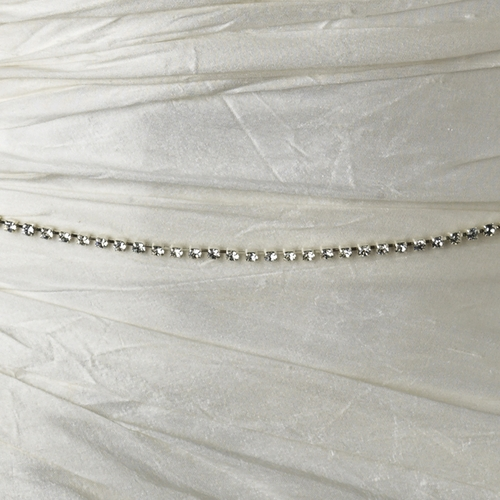 Square Style Silver Clear Rhinestone Sash Belt 9003