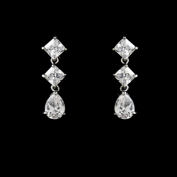 Antique Silver Cubic Zirconia Earrings E 3811