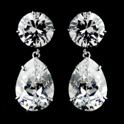 Gorgeous Antique Silver Clear Cubic Zirconium Teardrop Earrings E 5372
