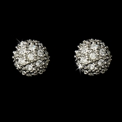Antique Silver Clear CZ Pave Ball Stud Earring 6047