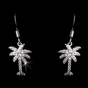 Silver Clear CZ Palm Tree Dangle Earrings 8117