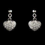 * Stunning Silver Clear CZ Pave Heart Earrings 4878
