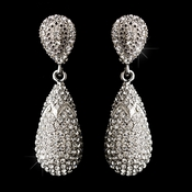 Silver Clear Irridescent Crystal Pave Drop Earrings E 1264