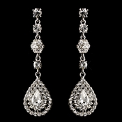 Silver Clear rhinestone dangle earring 1267