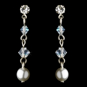White Pearl Clear AB Earrings 8363