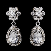 Delightful Silver Clear CZ Floral Earrings 3096