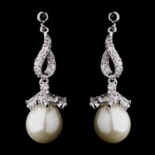 Classic Antique Silver Dangle Earring with Cubic Zirconia & Freshwater Pearl 8626