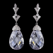 Stunning Antique Silver Clear CZ Earrings 8636