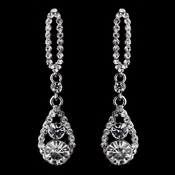 Fabulous Silver Clear Rhinestone Teardrop Earrings 8698