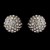 Silver Clear Small Pave Ball Stud Earrings 8701