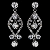 Silver Clear Crystal Post Dangle Earrings 8705