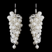 Charming Crystal Bead & Ivory Pearl Drop Earrings 8715