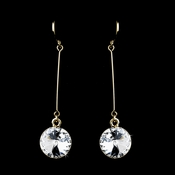 Elegant Gold Clear Crystal Drop Earrings 25729