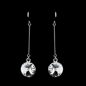 Elegant Silver Clear Crystal Drop Earrings 25729