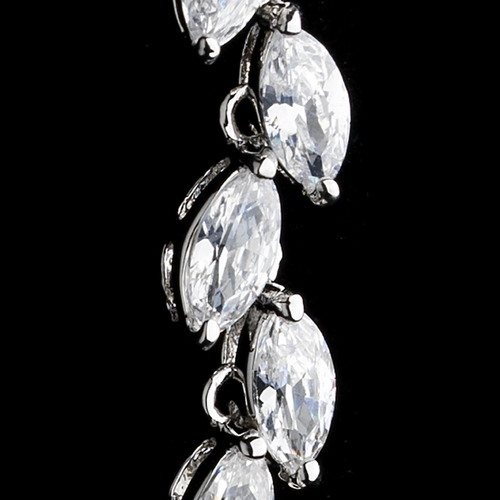 * Spectacular Silver Clear CZ Bridal Dangle Earrings 2896