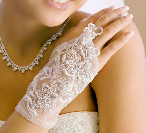 Sheer Fingerless Wrist Length Bridal Gllove -  GL  9132