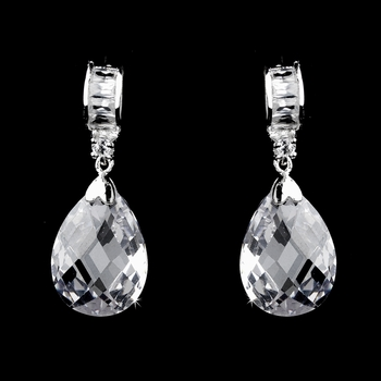 Baquette & Teardrop CZ Earring Set 25716