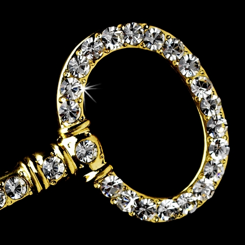 * Key Brooch 102 Clear Rhinestones in a Gold Setting