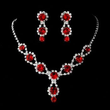 Silver Necklace & Earring Set with Ruby Red Crystals and Clear Rhinestones 4362***Discontinued***