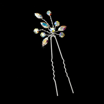* Silver with Clear AB Stones Floral Hair Accents Hair Pin 10