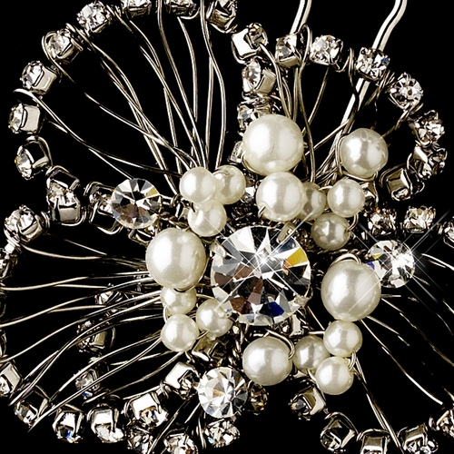 * Antique Vintage Bridal Pearl & Rhinestone Hair Pin 117