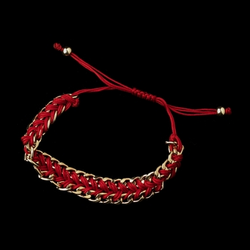 Gold Red Braided Mesh Link Fashion Bracelet 8860
