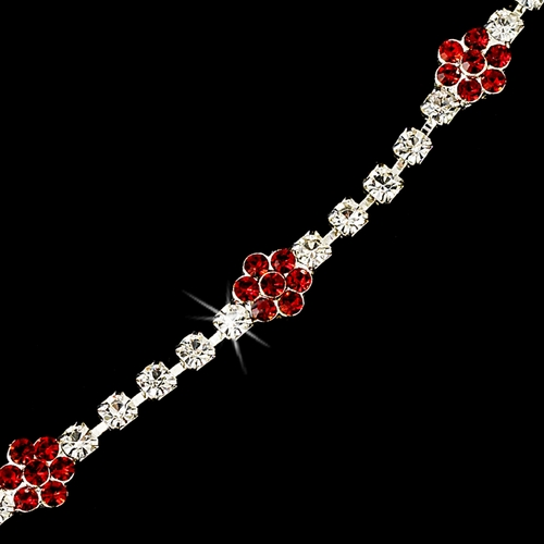 * Red Accented Floral Bracelet B 96