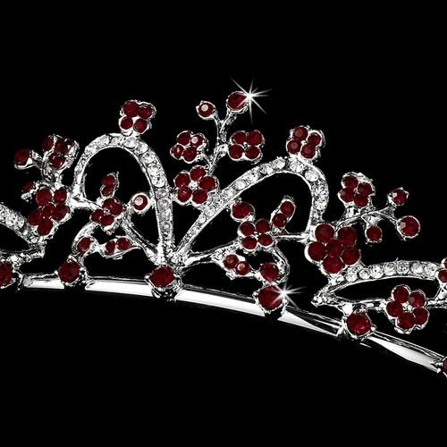 * Silver Clear w/Dark Red Accent Tiara Headpiece 6101