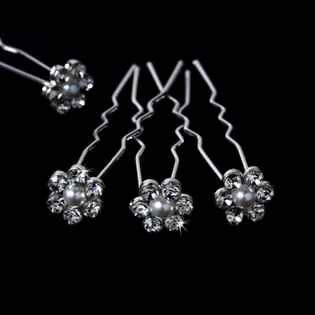 Pearl Flower Crystal Bridal Hair Pins KCS 0027 (Set of 12)