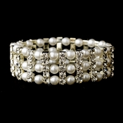 Silver White Stretch Pearl & Rhinestone Bracelet 80630***Discontinued***
