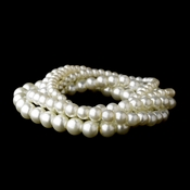 5 Strand White Pearl Stretch Bracelet 80562
