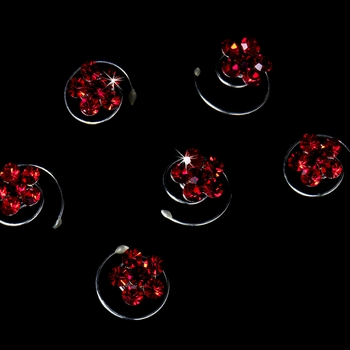 12 Delightful Silver Red Rhinestone Flower Twist-Ins 01***Discontinued***