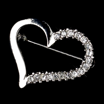 * Silver Clear Rhinestone Valentine Love Heart Brooch 217