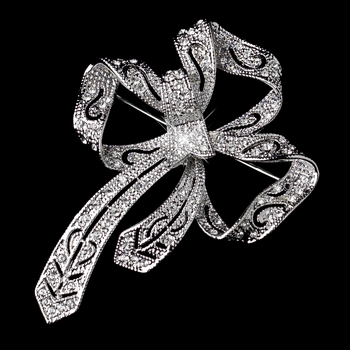 Silver Clear Curly Ribbon Brooch 230