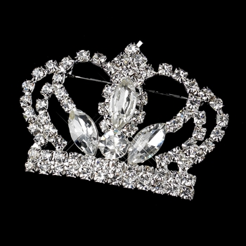 Silver Clear Rhinestone Crown King Brooch 30026