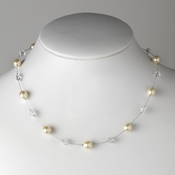 Silver Pearl Necklace 8367 (White or Ivory)