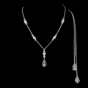 Silver Pearl Necklace 8435 (White or Ivory)