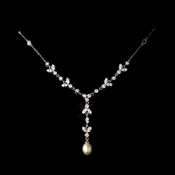 Antique Silver Clear Cubic Zirconia & Freshwater Pearl Necklace 2508