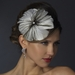* White Peacock Feather Side Accented Headband Headpiece 954