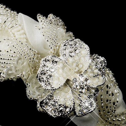 * Bugle Bead, Pearl & Rhinestone Double Side Accented Floral Headband 962